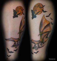 bat tattoo ideas | Bats and Moon Tattoo