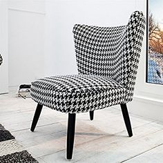"""RETRO DESIGN ARMCHAIR """"AUDREY""""   black-white, houndstooth check  padded chair: Amazon.co.uk: Kitchen & Home"""