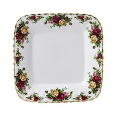 Old Country Roses square serving plate.