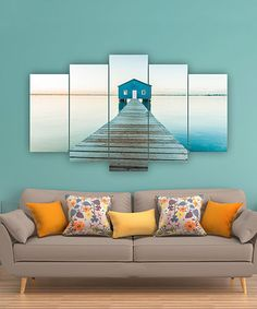 Accent a bare wall with this eye-catching artwork boasting vibrant hues and an intriguing five-panel design. Outdoor Sofa, Outdoor Furniture, Outdoor Decor, Decorating Your Home, Diy Home Decor, 5 Panel Wall Art, Lake Cabins, Beautiful Artwork, My Room
