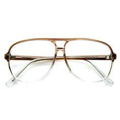 Men's 1980's Retro Fashion Translucent Square Aviator Glasses 9310