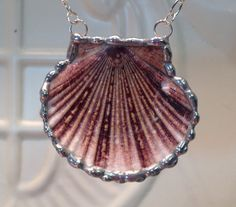 Flat Scallop Sea Shell Necklace  Soldered Shell by WorkofWhimsy