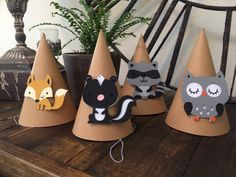 Woodland animals party hats ,woodland creatures