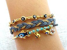 Evil eye bracelet sets grey black ethnic authentic by Handemadeit