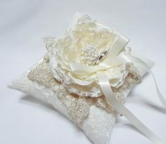 Gorgeous Ivory bloom on Ivory Lace Wedding Ring Pillow by mirino, $35.00