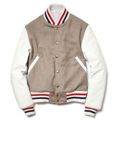 not gonna lie but this is pretty sweet. If I were a boy, I'd own this!  youthattackmob:    thom browne varsity jacket