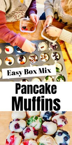 Pancake muffins from a box mix or use your favorite pancake batter recipe. These mini muffins are good for breakfast and snacks and kids and toddlers. Picky Toddler Meals, Toddler Lunches, Kids Meals, Toddler Dinners, Toddler Food, Pancake Bites, Pancake Muffins, Mini Muffins, Pancakes