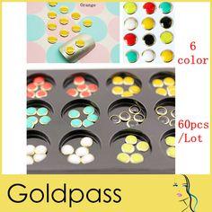 Freeshipping 60Pcs 6 Colors Nail Art 3D Round Glitter Rhinestones Gems Decoration Dropshiping US $6.58