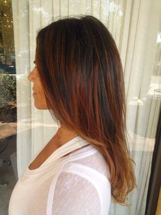 Warm, rich shiny ombre - slightly caramel but never red that blends into a gentle blond on the ends. GOLDWELL Color Color and Style by Sir Daniel, Salon Tease