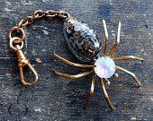 Steampunk SPIDER ArachneMachina Pendant Mirror Purse Zipper Clip Pull Resin Cabochon Gears & Watch Rhinestone Fob0001 Robin Delargy