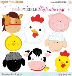 Barn Animal Faces Cute Digital Clipart - Commercial Use OK - Farm Animals, Barn Animals, Farm Clipart Barn Animals, Jungle Animals, Clipart, Farm Animal Party, Farm Birthday, Farm Theme, Animal Faces, In Kindergarten, Punch Art