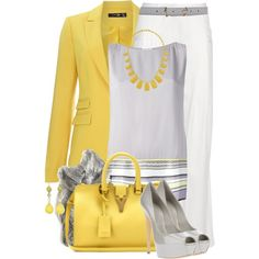 A fashion look from April 2014 featuring Vionnet blouses, Hallhuber blazers and Balmain pants. Browse and shop related looks.