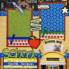 School for A Boy 2 Premade 12x12 Scrapbook Pages by Cherry Scrapbooking | eBay