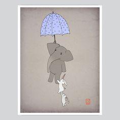 Nursery Art Print Flying Umbrella - Kids Wall Poster from www.artollo.com