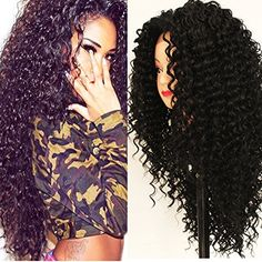 PlatinumHair black kinky curly wig synthetic lace front wigs heavy density for black women 16-26inchinch
