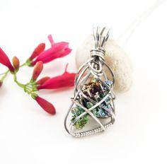 Bismuth crystal necklace - Argentium sterling silver wire wrapped bismuth…