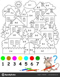 Educational page with exercises for children on addition and subtraction. Need to solve examples and to paint the image in relevant colors. Developing skills for counting. Math Coloring Worksheets, Kindergarten Math Worksheets, Teaching Math, Math Activities, Preschool Activities, Spanish Teaching Resources, Preschool Colors, Number Worksheets, Math For Kids