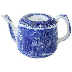 Antique George Jones Flow Blue Teapot ($245) ❤ liked on Polyvore featuring home, kitchen & dining, teapots, coffee & tea service, antique teapots, blue tea pot, blue teapot, ceramic teapots and ceramic tea pot