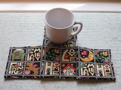 family and home and friend set of mug rugs by KjsKwilting on Etsy, $8.00