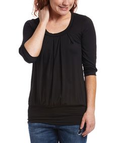 Black Three-Quarter Sleeve Blouson Top