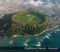 Diamond Head Crater on Oahu Hawaii. We hiked this while we were in Hawaii! Oahu Hawaii, Kauai, Hawaii Vacation, Hawaii Travel, Dream Vacations, Vacation Spots, Travel Usa, Honolulu Oahu, Waikiki Beach