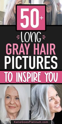Want some inspiration today? Check out these beautiful images of long gray hairstyles. Long gray hair looks fantastic on women of all ages. Short Gray Hairstyles, Hairstyles Over 50, Long Silver Hair, Short Grey Hair, Hair Images, Hair Pictures, Grey Hair And Glasses, Damp Hair Styles, Long Hair Styles