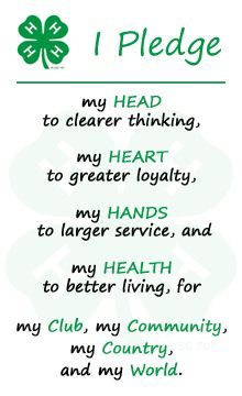 4 H Pledge Printable Service Projects For Kids, Fair Projects, Animal Projects, 4h Fair, 4 H Clover, 4 H Club, Country Girl Quotes, Country Sayings, Ffa
