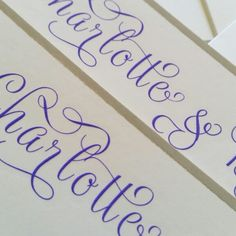 Calligraphy style engraved correspondence cards with hand bordered edges