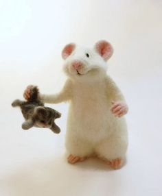MADE TO ORDER, mouse and cat, collectible doll, vintage mouse, soft mouse, soft toy, mouse in gift, felt kitty,mouse felt , Mouse white by SvetlanaToys on Etsy https://www.etsy.com/listing/261733737/made-to-order-mouse-and-cat-collectible