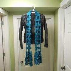 Crocheted Scarf, Lacy Scarf, Fashion Scarf, Extra Long Scarf, Reflective Scarf
