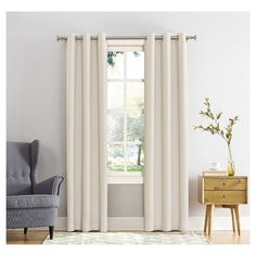 "Kenneth Blackout Grommet Curtain Panel Pearl (White) (40""x84"") - Sun Zero"