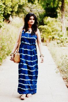 Outfit of the Day : Blue Maxi Dress Street Style India, Indian Fashion, Outfit Of The Day, Dress Outfits, Fashion Looks, Summer Dresses, Casual, Blue Maxi, Street Fashion