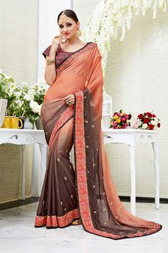 Brown Designer Wedding Wear Saree With Heavy Lace Border Patang Catalog 3905