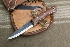 """Scandivex Bushcraft Knife in Black Walnut and 1/8"""" 52100 high carbon steel by AA Forge Custom Knives"""