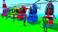 color Helicopter on vuns with spiderman and superheroes cartoon for kids
