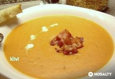 Sárgaborsófőzelék 4. - pirított baconnel | NOSALTY Food Dishes, Main Dishes, Cheeseburger Chowder, Bacon, Pudding, Fruit, Desserts, Recipes, Heavenly