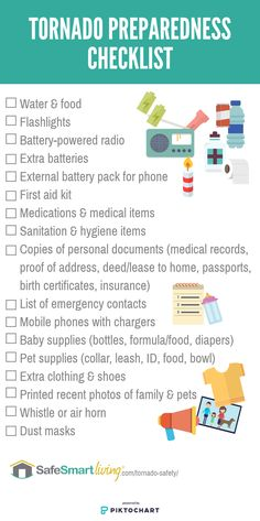 "Tornado safety checklist that includes: ""what should I do to prepare for a tornado?"", ""what should I do if a tornado is threatening?"" and, ""what do I do after a tornado?"