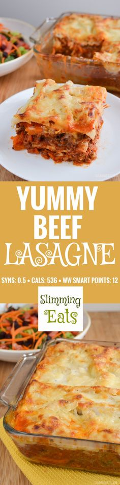 Slimming Eats Best Ever Low Syn Beef Lasagne - gluten free, vegetarian, Slimming World and Weight Watchers friendly slimming world diet plan Slimming World Lasagne, Slimming World Dinners, Slimming World Recipes Syn Free, Slimming Eats, Vegetarian Recipes, Cooking Recipes, Healthy Recipes, Healthy Food, Healthy Eating