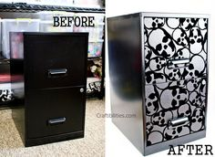 DIY- Wallpaper Filing Cabinet Makeover - Tutorial - Office Project - SKULL wall paper or use craft paper! No painting. Cubicle Makeover, Office Makeover, Cabinet Makeover, Office Wallpaper, Diy Wallpaper, Home Office, Office Art, Diy Tapete, Decor Crafts