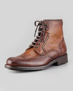M080Q Magnanni Grain/Smooth Leather Wing-Tip Boot, Brown