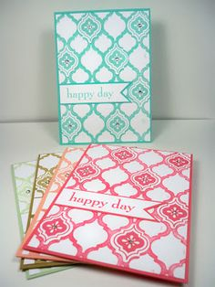 light and cheerful set of handmade notecards by Kylie Clemmence - Pink Ink Stamper ... Mosaic Madness suite ... faux letterpress with inked embossing folder ... monochromatic colors .., stamping and punched tiles ... wonderful cards ... Stampin' Up!