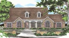 Roof dormers, arched windows and a columned front proch add a touch of elegance to this traditional home.