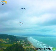 Parapente Canoa Ecuador Vuela parapente con instructores calificados durante 15 minutos, disfrutando de la adrenalina del deporte y los hermosos paisajes de la costa ecuatoriana.