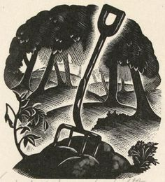 """Wood engraving by Claire Leighton from her book """"Four Hedges"""""""