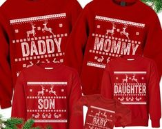 Check out our family christmas shirt selection for the very best in unique or custom, handmade pieces from our shops. Matching Family Christmas Sweaters, Christmas Shirts, Christmas Humor, Ugly Christmas Sweater, Kids Christmas, Toddler Christmas Dress, Christmas Dresses, Christmas Door Decorations, Family Outfits