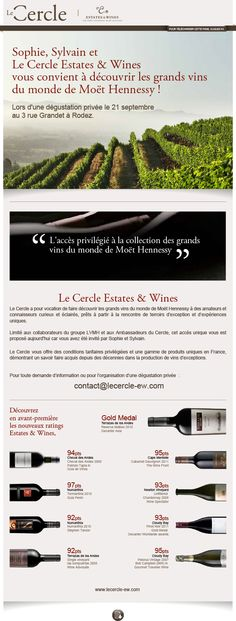 Le Cercle - Estate & Wines invitation mail de septembre 2013 Création FAT4
