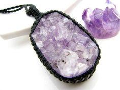 Amethyst / Amethsyt  Necklace / crystal cluster / Purple crystal / Druzy Amethyst / Crystal jewelry / February Birthstone /  Healing Gift