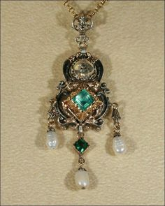 Georgian Emerald and Diamond Pendant with Pearl Drops in Silver and from vsterling on Ruby Lane