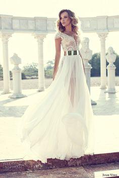 2014 Julie Vino Beading Wedding Dress Online Cap Sleeve Sexy Long Chiffon Front Split Bridal Gowns