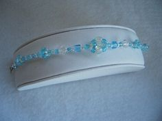 Hand Stitched Blue Crystal Beaded Bead Bracelet by AcadianGlassArt